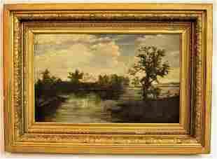 Antique Hudson River School-Style Oil on Canvas