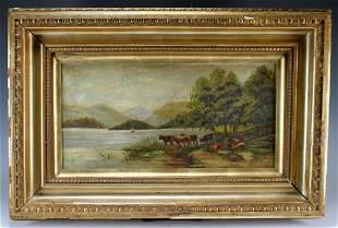 "Antique Oil on Canvas Pastoral Scene 1909 ""M.T."""