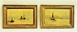 Oil on Canvas pair of Waterscapes by V. Walker