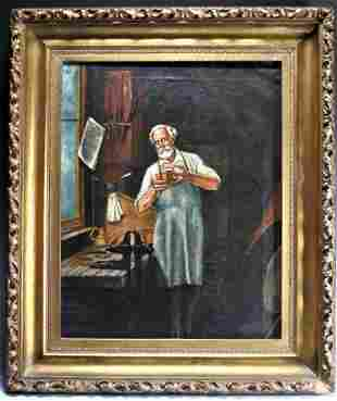 """""""The Coppersmith"""": Antique Oil on Canvas, 1891."""