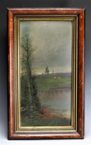 Oil Painting: Lake and Farmhouse, Unsigned.