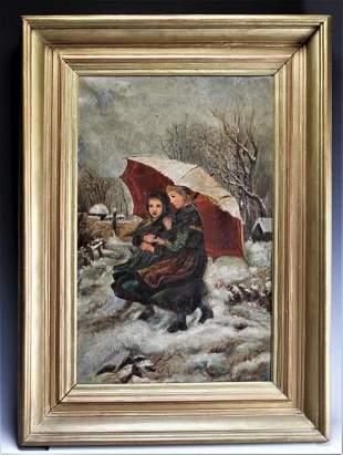 "Oil on Canvas: Girls Under Umbrella, ""L. Conklin"""