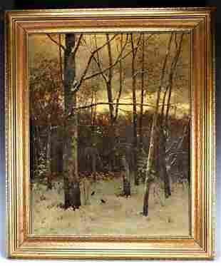 Oil on Canvas Winter Forest, Birds William Macy 1879