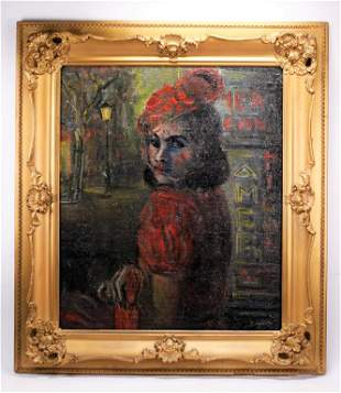 1930's Portrait Oil Painting of Girl In Red
