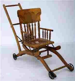 Antique Wood Convertible Highchair - Stroller