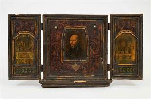 Antique Religious Icon Triptych