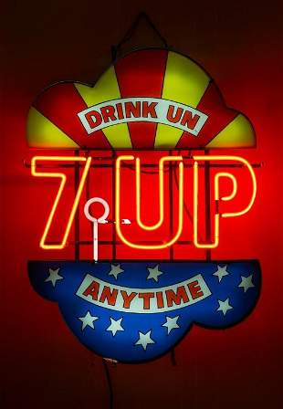 Vintage 7UP Drink UN Anytime Neon Sign