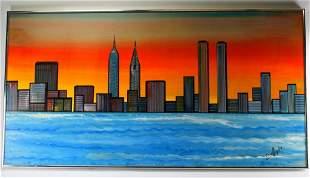 NYC Skyline Oil Painting on Canvas