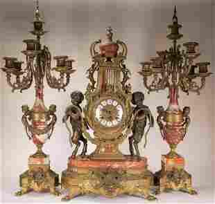 Franz Hermle Victorian Style Clock Garniture Set