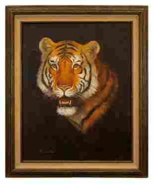 Signed Tiger Oil Painting, David Lee