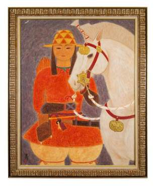Chinese Warrior & Horse Oil Painting