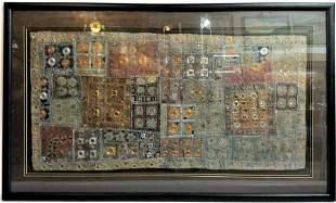 Antique Framed Silk Patchwork Tapestry