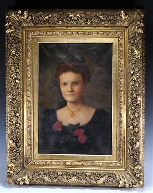 19th C. Oil on Canvas Portrait of a Woman