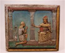 Antique Wood Relief Wall Plaque, Joseph & Pharaoh