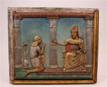 Antique Wood Relief Wall Plaque, Joseph & Pharaoh