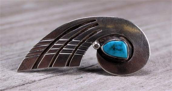 Southwestern Sterling Silver & Turquoise Brooch