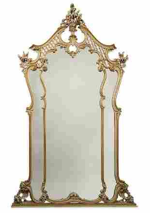 Antique French Carved Gold Leaf  Wood Mirror