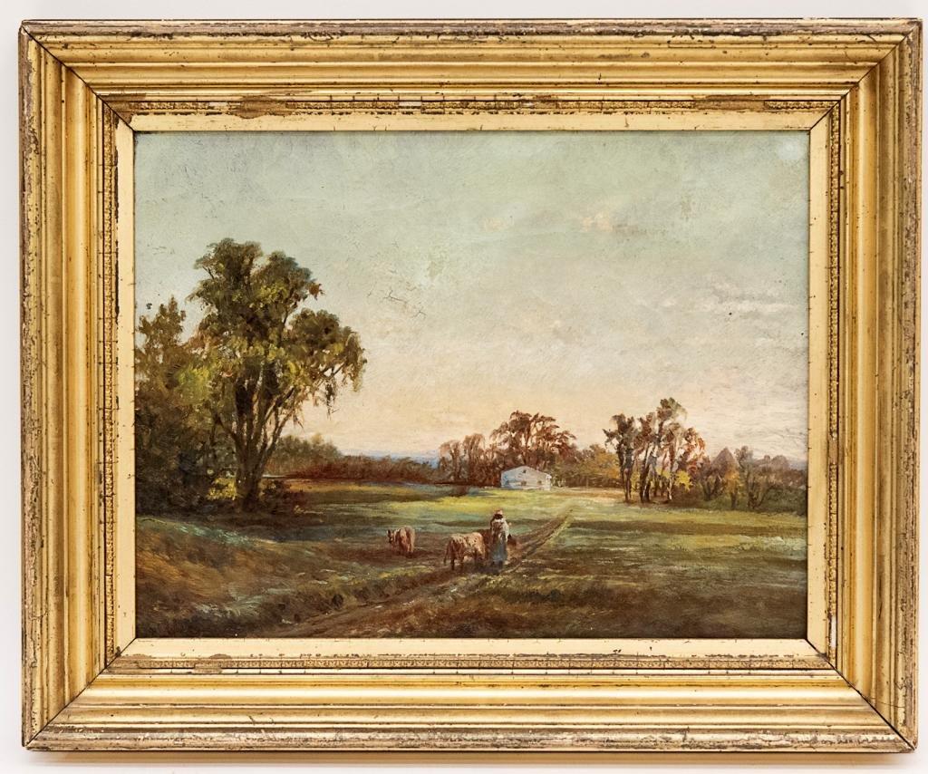 Antique Pastoral Landscape Oil Painting
