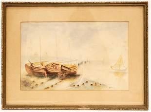 Harbor Scene Watercolor Painting