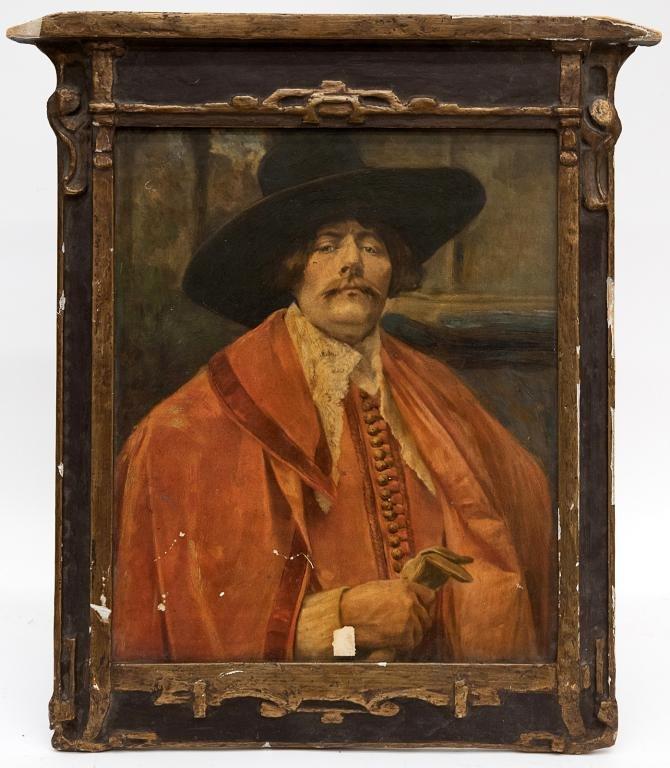 Antique Portrait in Carved Wood Frame