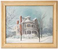 Signed Manor House Oil Painting