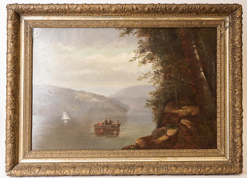 Antique Hudson River Landscape Oil Painting