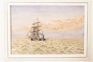 Framed Watercolor Painting Ship at Sea