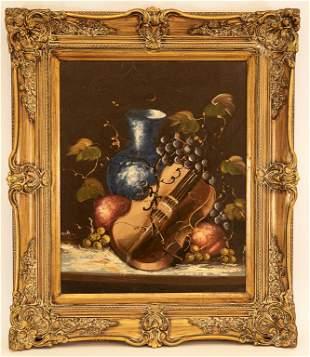 Violin Still Life Oil Painting Signed Sterioli