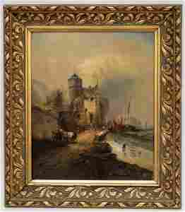 Old Master Dutch Landscape Oil Painting, Signed RH