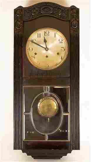 Carved Wood Case French Vedette Wall Clock