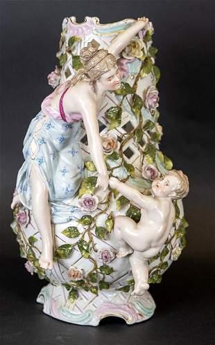 Vintage Porcelain Vase with Applied Figures