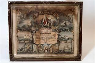 Framed Antique Sandy Hook Pilots Benevolent Cert