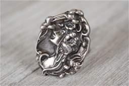 Antique Art Nouveau Sterling Silver Figural Ring