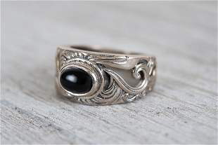 Sterling and Onyx Art Nouveau Style Band Ring