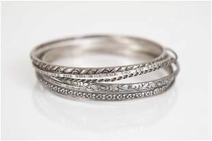 Antique Sterling Bangle Bracelets Engraved Lot