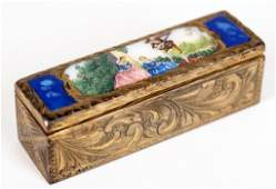 Antique Italy Gilt Silver  Enamel Lipstick Holder