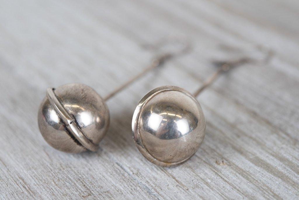 Sterling Taxco Mexico Dangle Drop Ball Earrings
