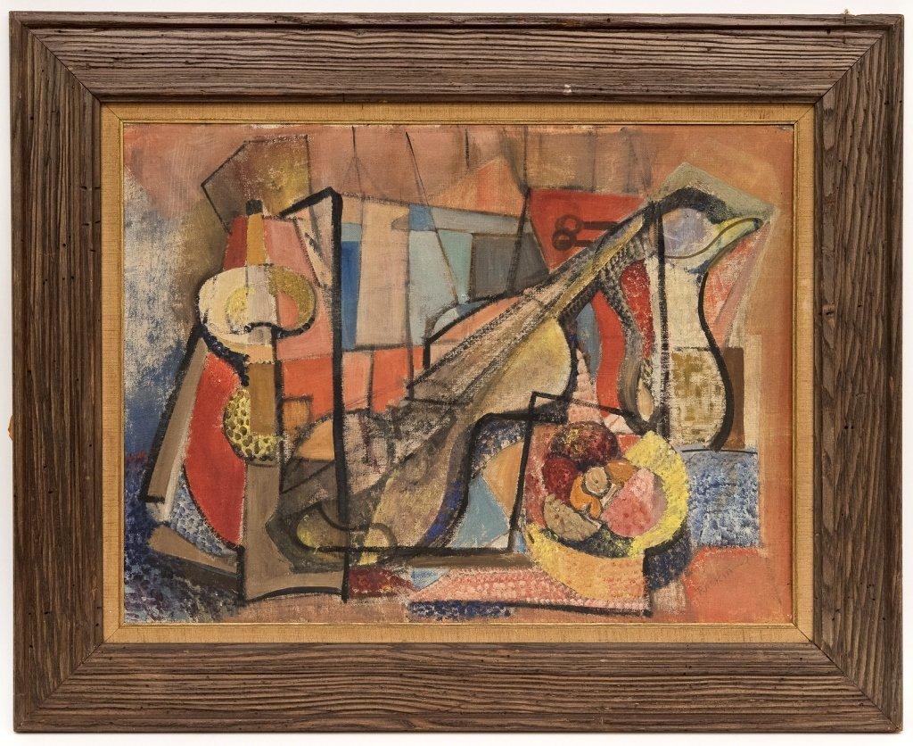 Cubist Still Life Oil, Signed Raskin