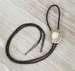 1980s Etched Eagle Head Bolo Tie