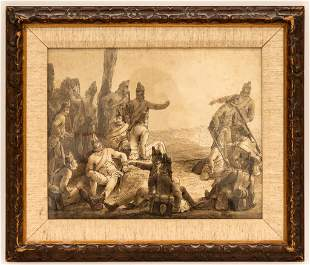 Antique French Gouache, Soldiers in Field
