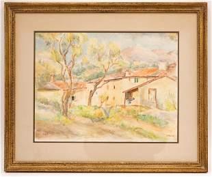 Signed Stoessl Watercolor Kibbutz Landscape