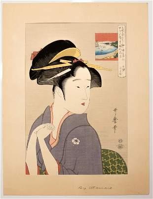 Japanese Woodblock Print Beautiful Woman, Utamaro