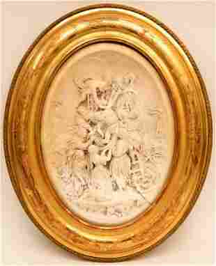 Intricately Carved Meerschaum Bas Relief Plaque