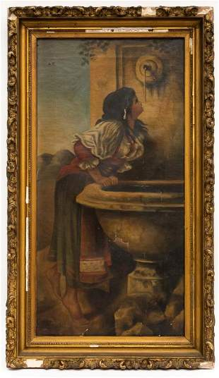 Roman Girl at a Fountain Painting After Bonnat