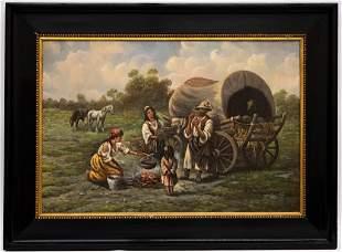 Adolf Baumgartner Stoiloff Gypsy Scene Oil Painting
