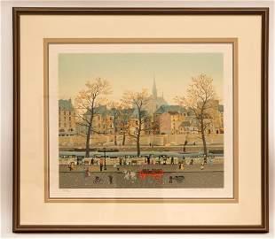 Michel Delacroix Paris Street Scene Signed Color Litho