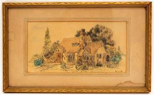 Watercolor Cottage Landscape, Signed R.L. '31