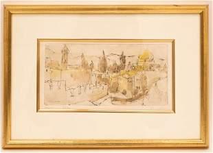 Judith Yellin Temple Mount Jerusalem Signed Etching
