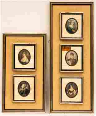 Bone Tile Framed Miniature Portrait Paintings
