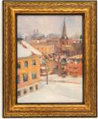 City in Snow Landscape Painting